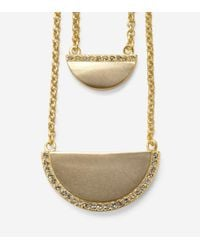 Cole Haan | Metallic Madison Avenue Pavé Half-moon Double-layer Necklace | Lyst
