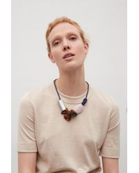 COS - Metallic Abstract Bead Necklace - Lyst