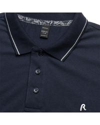 Replay - Blue Solid Stretch Pique Mens Polo Shirt for Men - Lyst