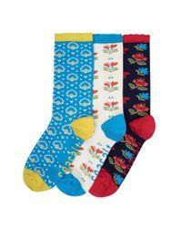 Seasalt - Multicolor Womens Floral Feet Socks Box Of 3 (ss17) - Lyst