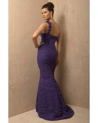 Jovani - Multicolor Ruched Bodice One-shoulder Trumpet Dress - Lyst