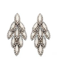 Elizabeth Cole | White Bacall Earring Yellow | Lyst