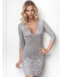 Baccio Couture   Gray Bruna Painted Short Dress   Lyst