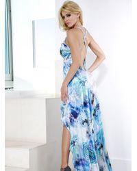 Baccio Couture - Blue Ria - Silk Long Dress - Lyst