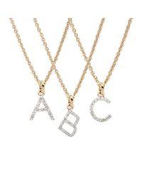 Rachael Ryen | Metallic Gold Petite Diamond Letter Necklace - All Letters Available | Lyst
