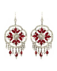 Ben-Amun - Red Ruby Deco Crystal Earrings - Lyst