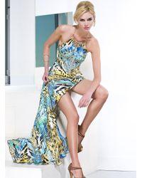 Baccio Couture   Blue Marilyn Silk Long Dress   Lyst
