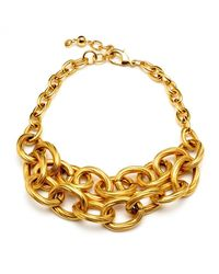 Ben-Amun | Metallic Textured Gold Chain Link Double Row Necklace | Lyst