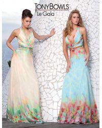 Mon Cheri | La Gala Prom By - Long Dress In Blue Multicolor | Lyst