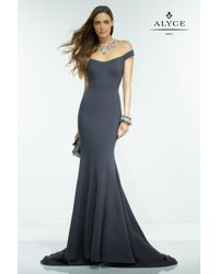 Alyce Paris | Gray Claudine - Long Dress In Charcoal Multi | Lyst