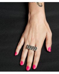 Femme Metale Jewelry - Black Love Bar Ring - Lyst