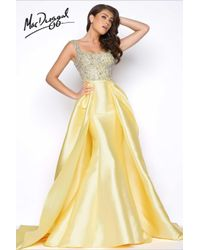 Mac Duggal - Yellow Prom - Cap Gown In Lemon - Lyst