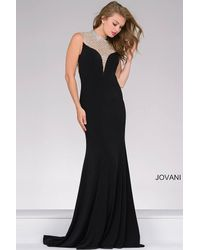 Jovani | Red Long Jersey Dress With Jeweled Neckline | Lyst