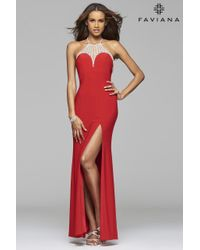 Faviana | Red Jersey Halter Prom Dress With Rhinestone Detail | Lyst