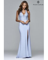 Faviana | Blue S Long Ball Gown With Beading And Fit And Flare Skirt | Lyst