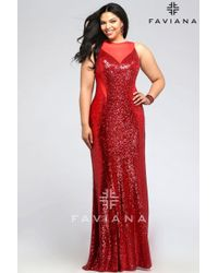 Lyst - Faviana Plus Size Sequin Prom Dress With Mesh V-neck And ...