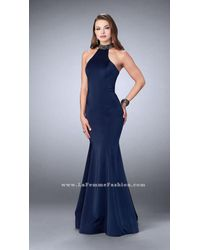 La Femme | Blue Classy Jeweled Collar Halter Trumpet Evening Gown | Lyst