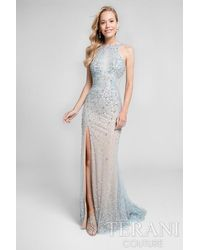 Terani | Blue Crystal Beaded Halter Long Prom Gown P | Lyst