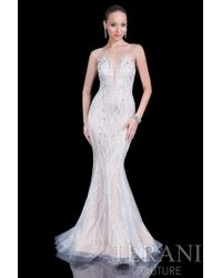 Terani - White Entrancing Beaded Mermaid Dress With Illusion Neckline Gl - Lyst