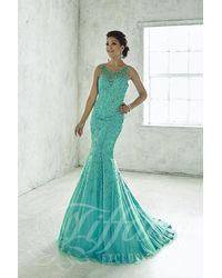Tiffany Designs - Blue Glittering Bateau Illusion Trumpet Evening Gown - Lyst