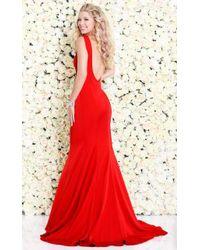 Shail K - Red Seam Sculpted Sleeveless Trumpet Gown - Lyst