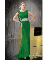 Alyce Paris - Multicolor Deep Plunge Draped Open Back Long Gown With Crystal Beaded Waist - Lyst