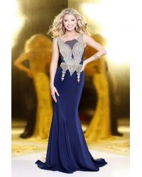 Shail K - Blue Elegant Laced And Jeweled Scoop Neck Polyester Trumpet Gown - Lyst