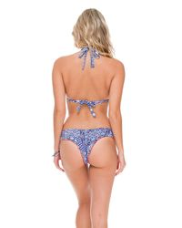 Luli Fama - Blue Wavey Brazilian Ruched Bottom In Multicolor (l) - Lyst