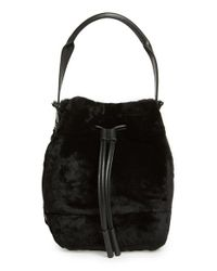 Opening Ceremony | Black 'mini Izzy' Genuine Shearling Backpack | Lyst