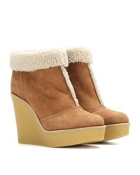 Chloé - Brown Suede And Shearling Wedge Ankle Boots - Lyst