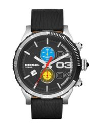 DIESEL - Black 'double Down' Chronograph Leather Strap Watch for Men - Lyst