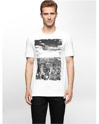 Calvin Klein | White Jeans Slim Fit Logo Cityscape Print T-shirt for Men | Lyst