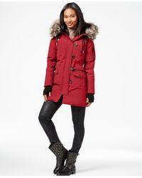 BCBGeneration | Red Faux-fur-trim Parka Coat | Lyst
