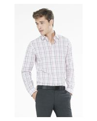 Express | Pink Fitted Tonal Plaid Dress Shirt for Men | Lyst