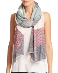 Tory Burch | Multicolor Striped Logo Scarf | Lyst