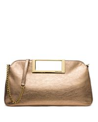 MICHAEL Michael Kors | Metallic Berkley Large Leather Clutch | Lyst