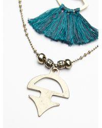 Free People - Blue Womens Threaded Tassel Short Necklace - Lyst