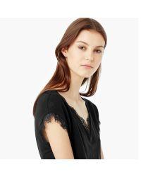 Mango - Black Lace-appliqué Linen T-shirt - Lyst