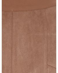 Jane Norman - Natural Faux Suede Ponte Panel Legging - Lyst