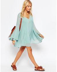 ASOS - Natural Boho Swing Dress With V Neck - Lyst