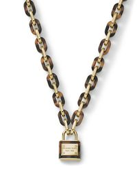 Michael Kors | Metallic Padlock Link Toggle Necklace Goldentortoise | Lyst