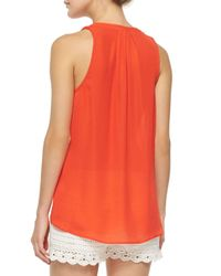 Joie - Red Aruna Sleeveless Silk Blouse - Lyst