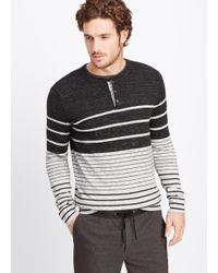 VINCE | Gray Sporty Jaspé Colorblock Striped Henley Sweater for Men | Lyst