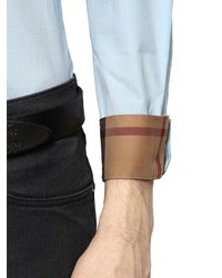 Burberry Brit - Blue Stretch Cotton Poplin Shirt for Men - Lyst