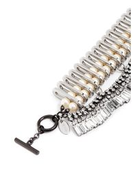Venna | Metallic Chain Link Resin Pearl Crystal Fringe Necklace | Lyst