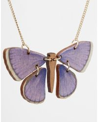 Tatty Devine - Blue Butterfly Necklace - Lyst