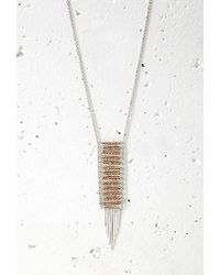 Forever 21 | Metallic Beaded Matchstick Pendant Necklace | Lyst