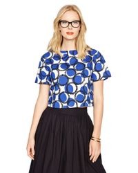 Kate Spade | Blue Stamped Dots Crop Top | Lyst