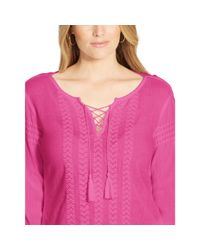Ralph Lauren | Pink Embroidered Cotton Lace-up Top | Lyst