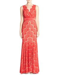 Betsy & Adam | Red Lace Mermaid Gown | Lyst
